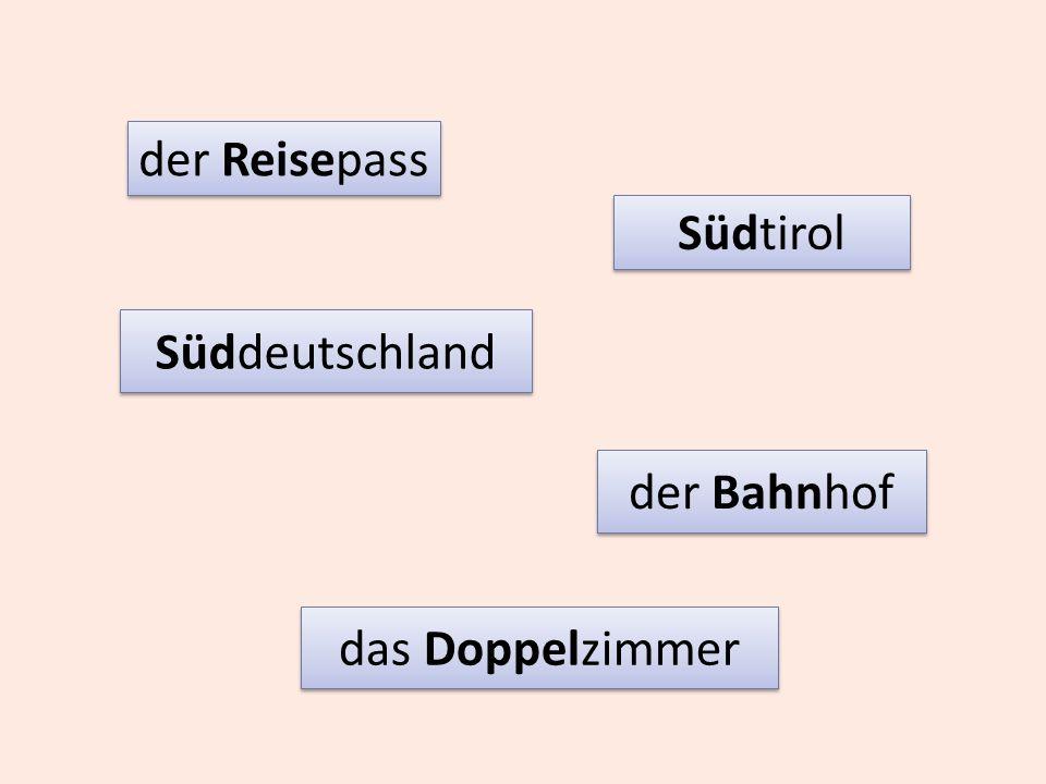 Süddeutschland der Reisepass der Bahnhof Südtirol das Doppelzimmer