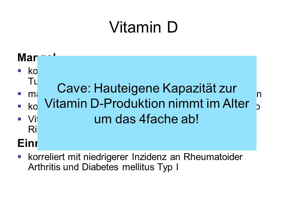 Vitamin D Mangel  korreliert mit MS-Inzidenz und Auftreten maligner Tumore (Kolon, Mamma)  macht anfälliger für bakterielle und virale Erkrankungen