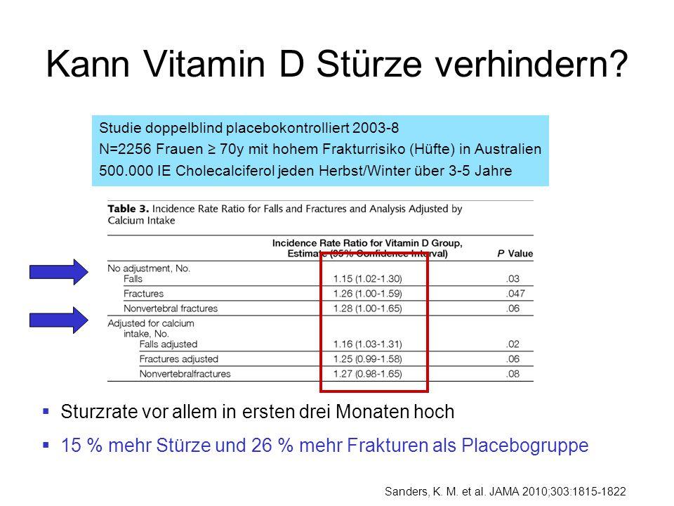 Kann Vitamin D Stürze verhindern? Studie doppelblind placebokontrolliert 2003-8 N=2256 Frauen ≥ 70y mit hohem Frakturrisiko (Hüfte) in Australien 500.