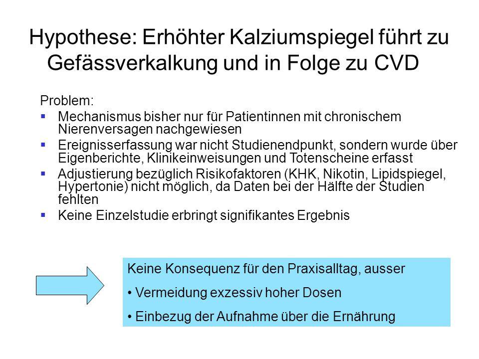 Hypothese: Erhöhter Kalziumspiegel führt zu Gefässverkalkung und in Folge zu CVD Problem:  Mechanismus bisher nur für Patientinnen mit chronischem Ni