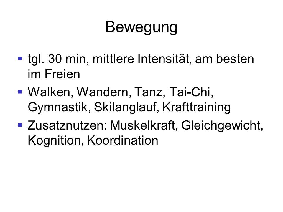 Bewegung  tgl. 30 min, mittlere Intensität, am besten im Freien  Walken, Wandern, Tanz, Tai-Chi, Gymnastik, Skilanglauf, Krafttraining  Zusatznutze