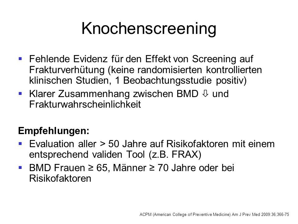 Knochenscreening  Fehlende Evidenz für den Effekt von Screening auf Frakturverhütung (keine randomisierten kontrollierten klinischen Studien, 1 Beoba