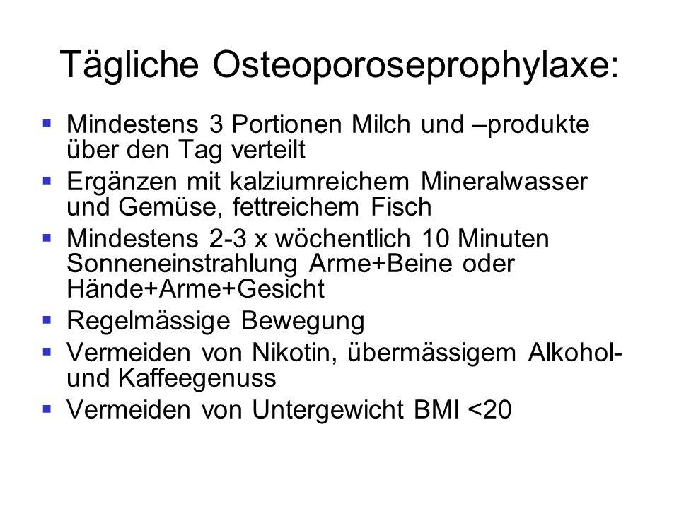 Tägliche Osteoporoseprophylaxe:  Mindestens 3 Portionen Milch und –produkte über den Tag verteilt  Ergänzen mit kalziumreichem Mineralwasser und Gem