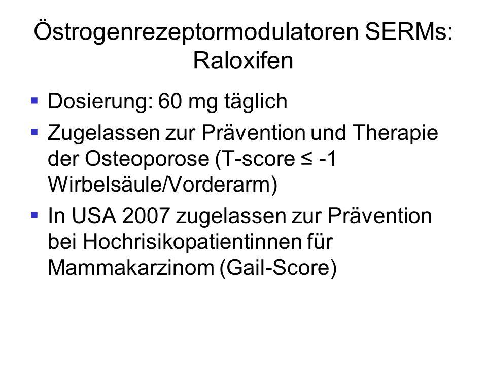 Östrogenrezeptormodulatoren SERMs: Raloxifen  Dosierung: 60 mg täglich  Zugelassen zur Prävention und Therapie der Osteoporose (T-score ≤ -1 Wirbels