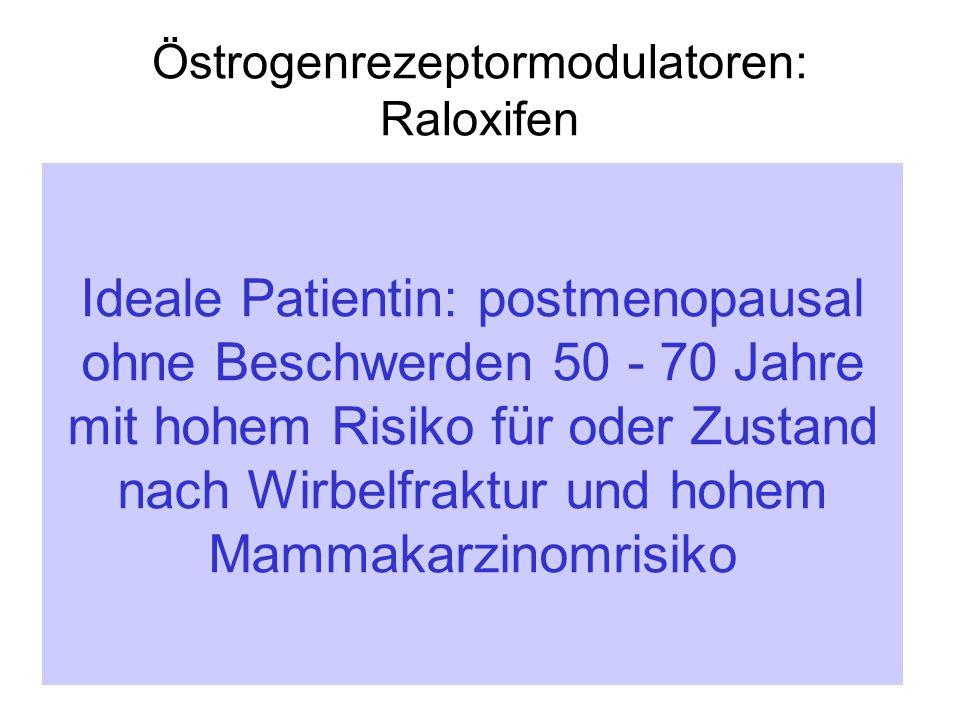 Östrogenrezeptormodulatoren: Raloxifen  Reduziert osteoporotische Frakturen an der WS signifikant  Protektiv bezüglich Mammaca  Positiven Einfluss