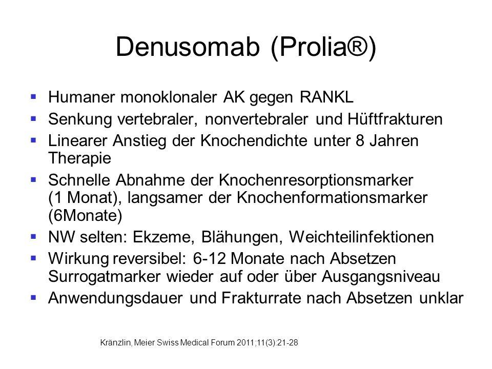 Denusomab (Prolia®)  Humaner monoklonaler AK gegen RANKL  Senkung vertebraler, nonvertebraler und Hüftfrakturen  Linearer Anstieg der Knochendichte