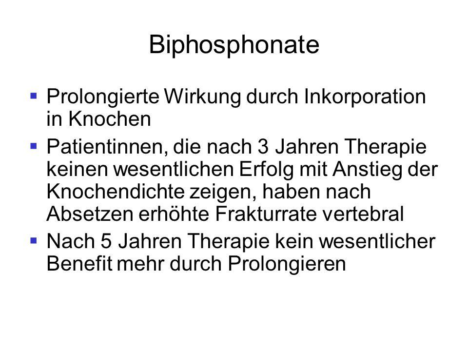 Biphosphonate  Prolongierte Wirkung durch Inkorporation in Knochen  Patientinnen, die nach 3 Jahren Therapie keinen wesentlichen Erfolg mit Anstieg
