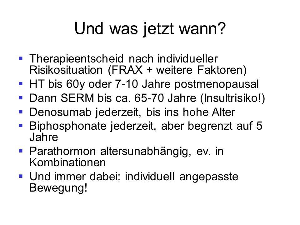Und was jetzt wann?  Therapieentscheid nach individueller Risikosituation (FRAX + weitere Faktoren)  HT bis 60y oder 7-10 Jahre postmenopausal  Dan
