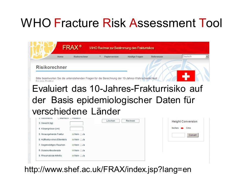 WHO Fracture Risk Assessment Tool http://www.shef.ac.uk/FRAX/index.jsp?lang=en Evaluiert das 10-Jahres-Frakturrisiko auf der Basis epidemiologischer D