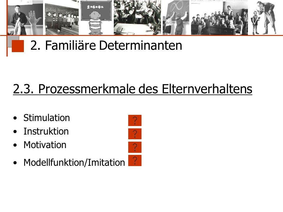 2. Familiäre Determinanten 2.3. Prozessmerkmale des Elternverhaltens Stimulation Instruktion Motivation Modellfunktion/Imitation