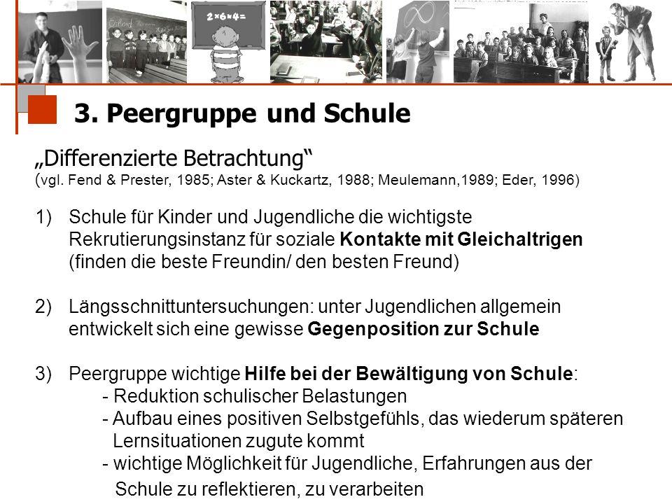 """3. Peergruppe und Schule """"Differenzierte Betrachtung"""" ( vgl. Fend & Prester, 1985; Aster & Kuckartz, 1988; Meulemann,1989; Eder, 1996) 1)Schule für Ki"""
