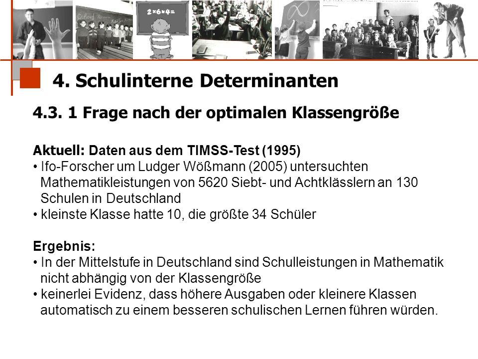 4. Schulinterne Determinanten 4.3. 1 Frage nach der optimalen Klassengröße Aktuell: Daten aus dem TIMSS-Test (1995) Ifo-Forscher um Ludger Wößmann (20