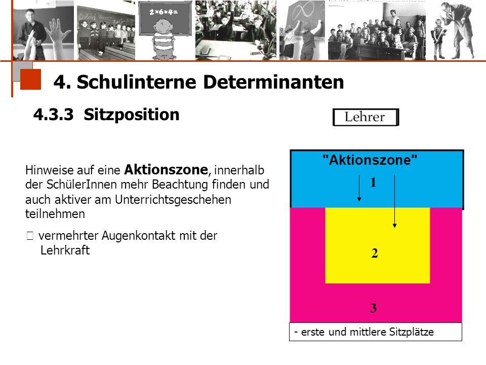 4. Schulinterne Determinanten 4.3.3 Sitzposition - erste und mittlere Sitzplätze