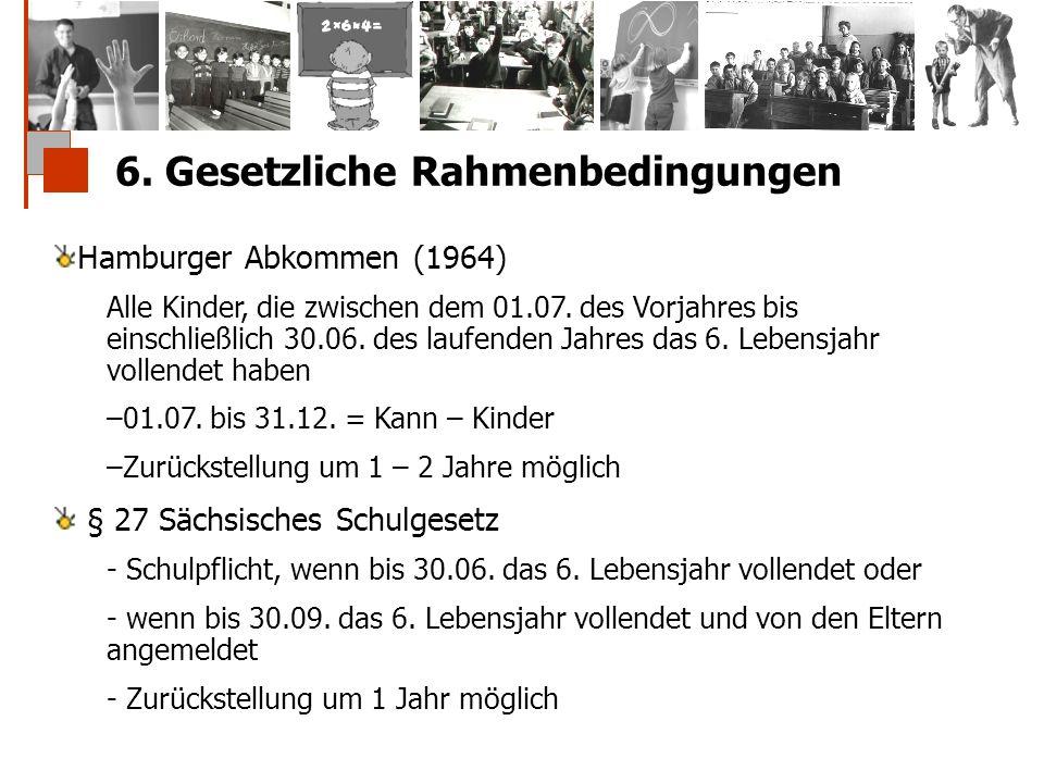 6. Gesetzliche Rahmenbedingungen Hamburger Abkommen (1964) Alle Kinder, die zwischen dem 01.07. des Vorjahres bis einschließlich 30.06. des laufenden