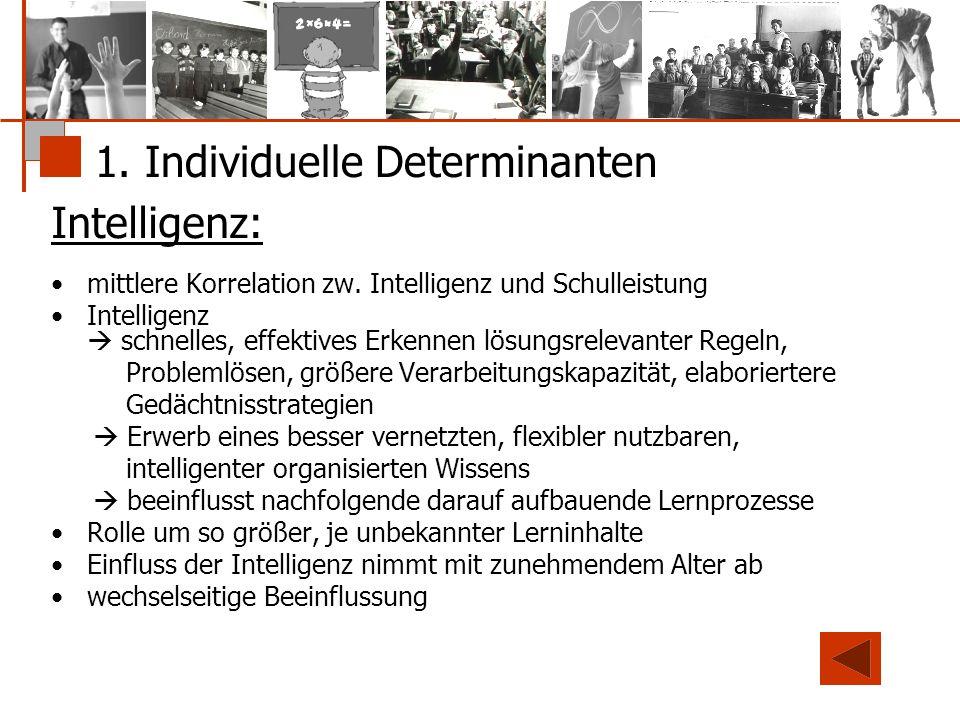 1. Individuelle Determinanten Intelligenz: mittlere Korrelation zw. Intelligenz und Schulleistung Intelligenz  schnelles, effektives Erkennen lösungs