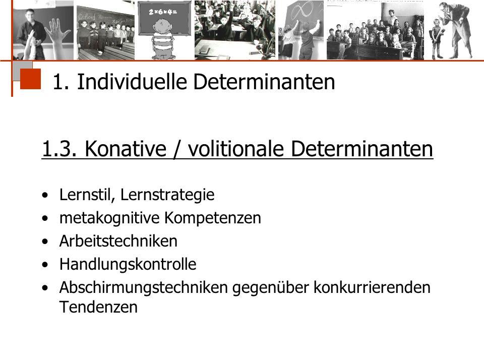 1. Individuelle Determinanten 1.3. Konative / volitionale Determinanten Lernstil, Lernstrategie metakognitive Kompetenzen Arbeitstechniken Handlungsko