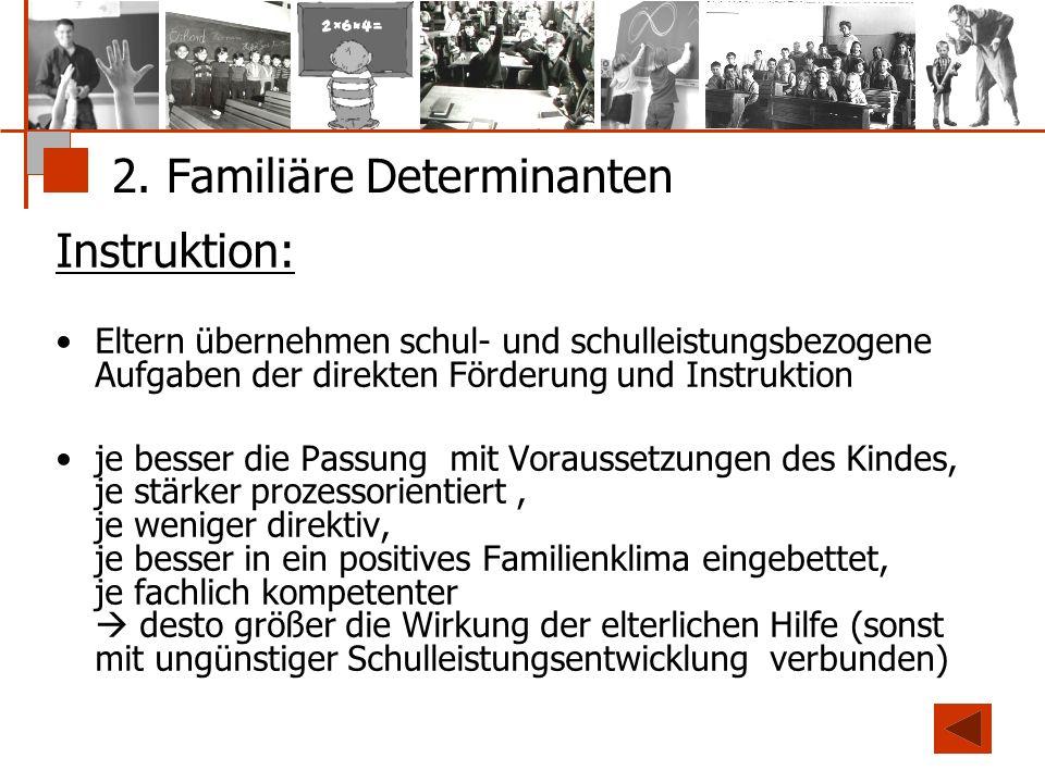 2. Familiäre Determinanten Instruktion: Eltern übernehmen schul- und schulleistungsbezogene Aufgaben der direkten Förderung und Instruktion je besser