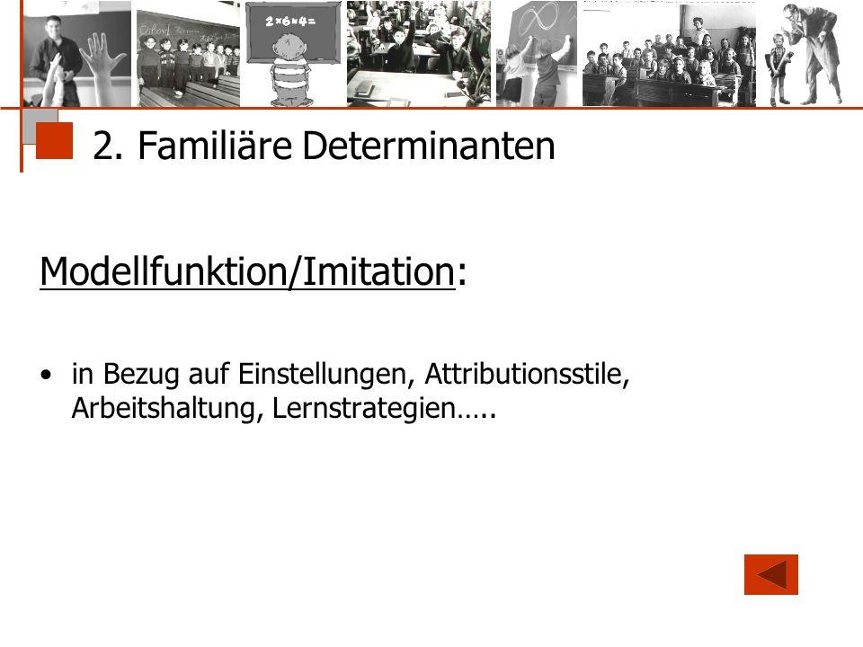 2. Familiäre Determinanten Modellfunktion/Imitation: in Bezug auf Einstellungen, Attributionsstile, Arbeitshaltung, Lernstrategien…..