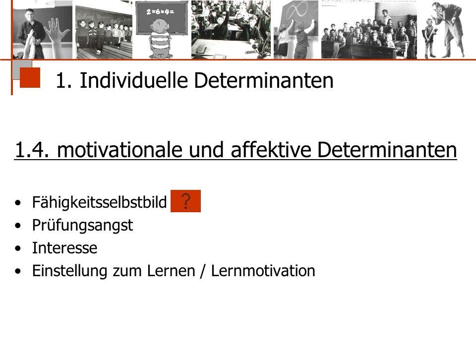 1. Individuelle Determinanten 1.4. motivationale und affektive Determinanten Fähigkeitsselbstbild Prüfungsangst Interesse Einstellung zum Lernen / Ler