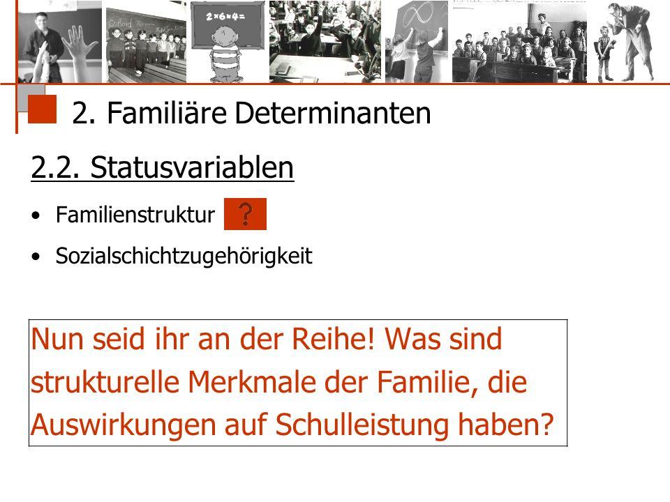 2. Familiäre Determinanten 2.2. Statusvariablen Familienstruktur Sozialschichtzugehörigkeit Nun seid ihr an der Reihe! Was sind strukturelle Merkmale