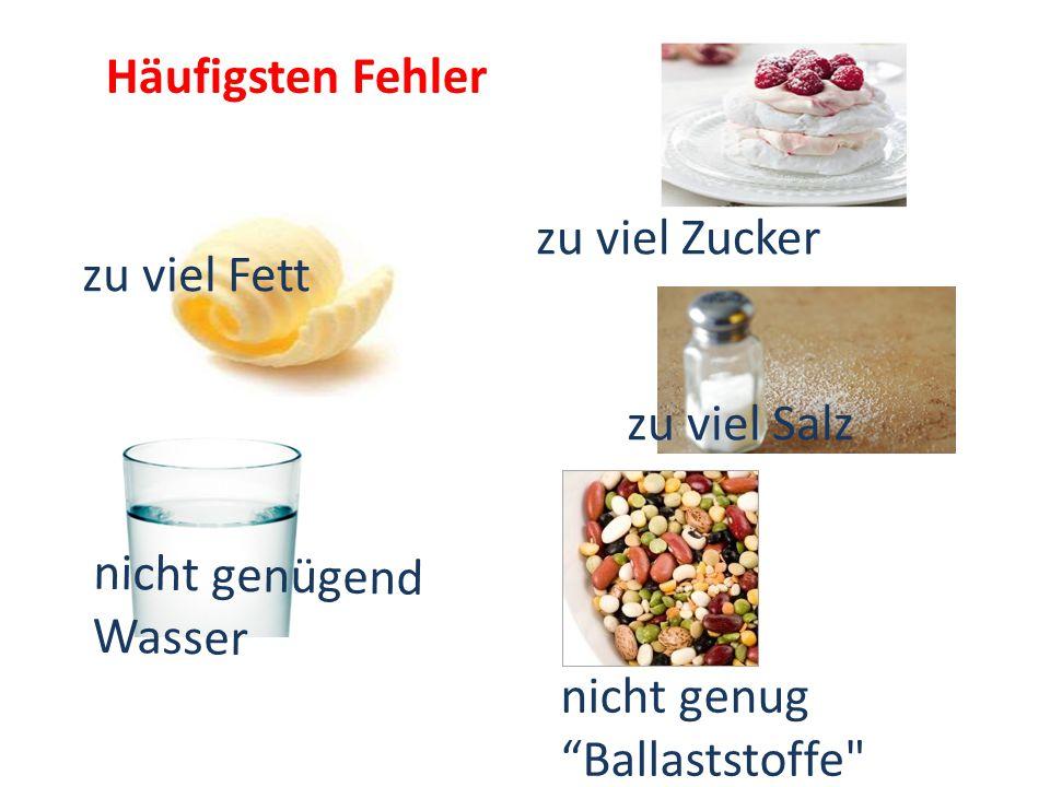 Häufigsten Fehler zu viel Zucker zu viel Fett nicht genügend Wasser nicht genug Ballaststoffe zu viel Salz