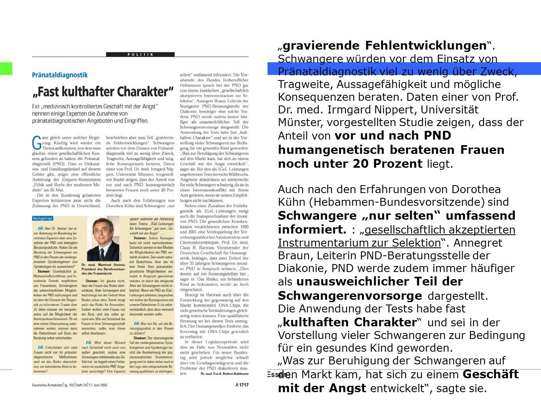 """Stand: 01/2009© Labor eiben glaubitz (Essen) """" gravierende Fehlentwicklungen """". Schwangere würden vor dem Einsatz von Pränataldiagnostik viel zu wenig"""