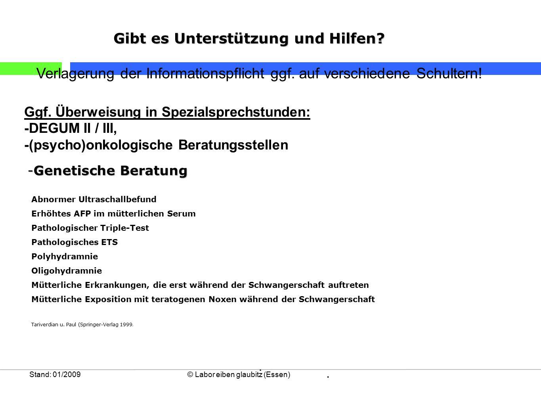 Stand: 01/2009© Labor eiben glaubitz (Essen) Abnormer Ultraschallbefund Erhöhtes AFP im mütterlichen Serum Pathologischer Triple-Test Pathologisches E