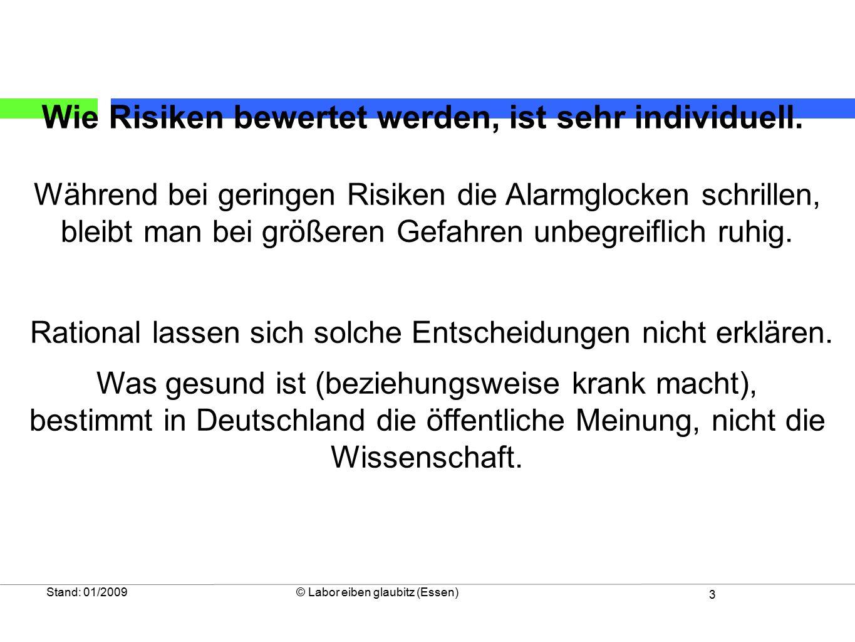 3 Stand: 01/2009© Labor eiben glaubitz (Essen) Während bei geringen Risiken die Alarmglocken schrillen, bleibt man bei größeren Gefahren unbegreiflich