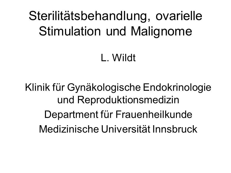 Sterilitätsbehandlung, ovarielle Stimulation und Malignome L. Wildt Klinik für Gynäkologische Endokrinologie und Reproduktionsmedizin Department für F