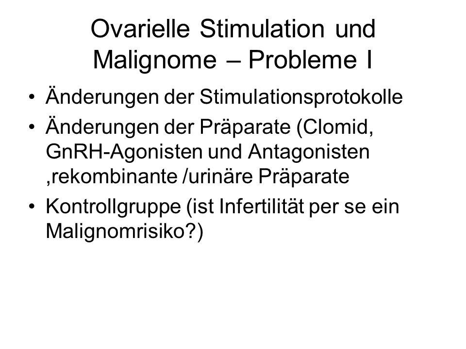 Ovarielle Stimulation und Malignome – Probleme I Änderungen der Stimulationsprotokolle Änderungen der Präparate (Clomid, GnRH-Agonisten und Antagonisten,rekombinante /urinäre Präparate Kontrollgruppe (ist Infertilität per se ein Malignomrisiko?)