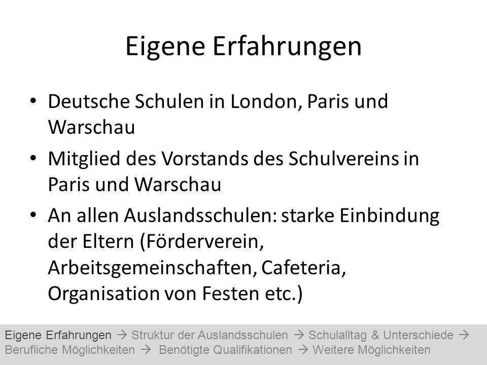Eigene Erfahrungen Deutsche Schulen in London, Paris und Warschau Mitglied des Vorstands des Schulvereins in Paris und Warschau An allen Auslandsschul