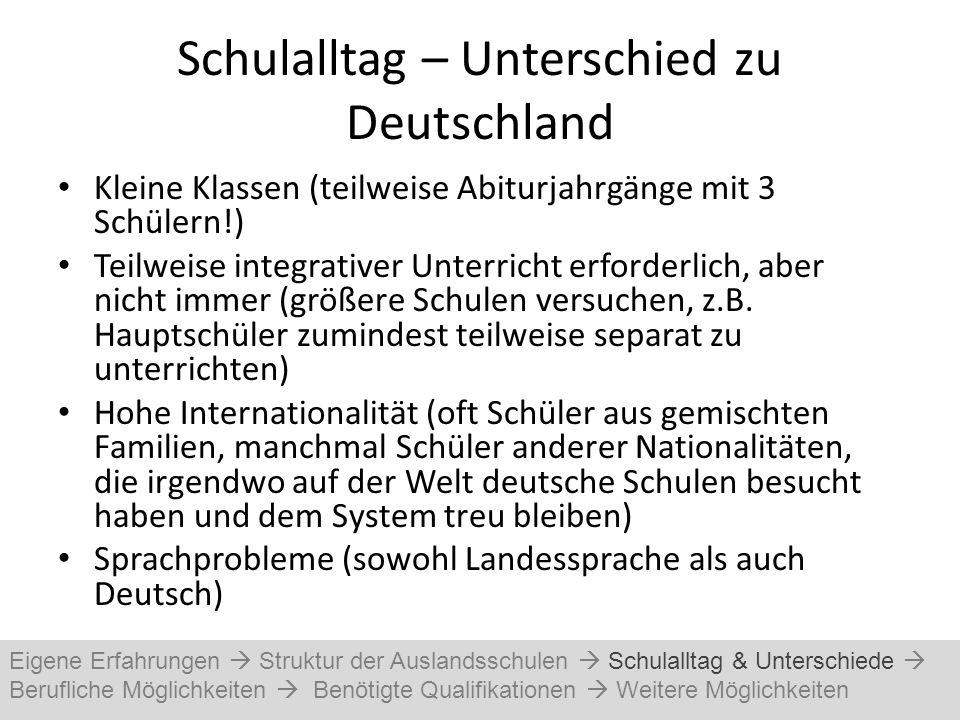 Schulalltag – Unterschied zu Deutschland Kleine Klassen (teilweise Abiturjahrgänge mit 3 Schülern!) Teilweise integrativer Unterricht erforderlich, ab