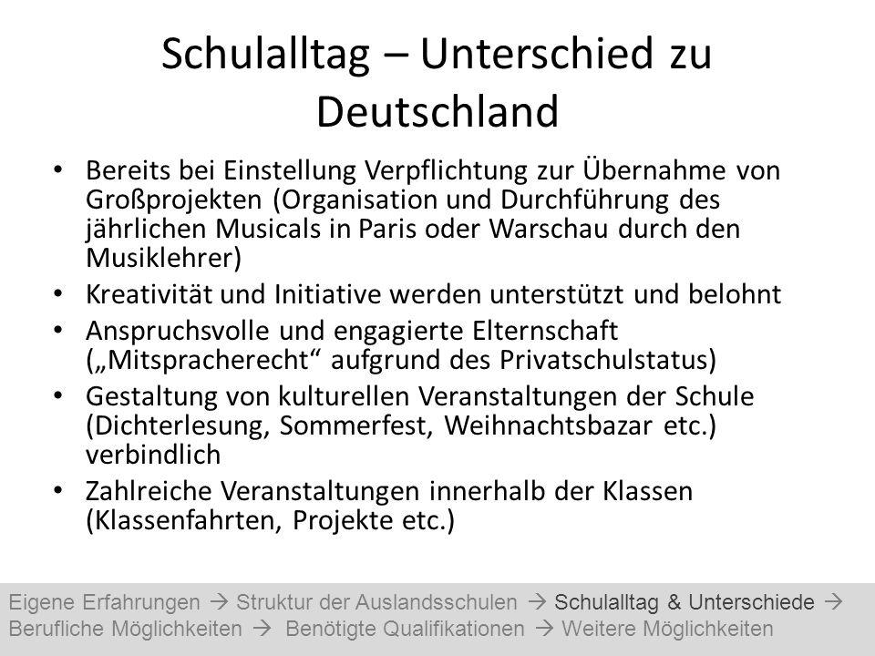 Schulalltag – Unterschied zu Deutschland Bereits bei Einstellung Verpflichtung zur Übernahme von Großprojekten (Organisation und Durchführung des jähr