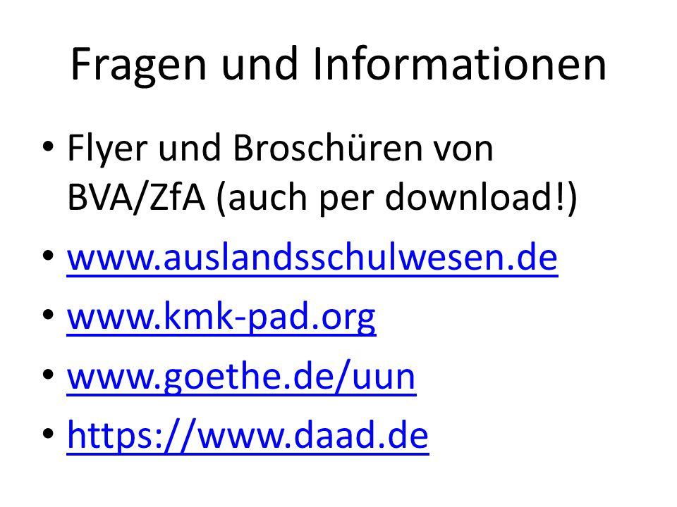 Fragen und Informationen Flyer und Broschüren von BVA/ZfA (auch per download!) www.auslandsschulwesen.de www.kmk-pad.org www.goethe.de/uun https://www