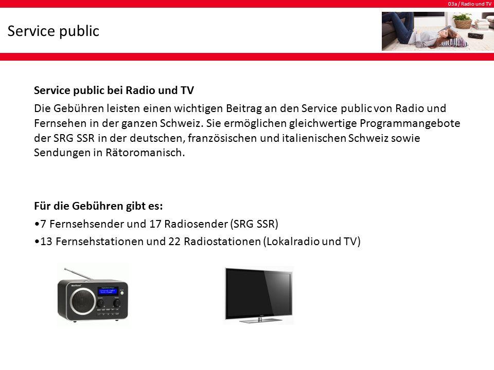 03a / Radio und TV Service public Wohin die Gebühren fliessen.