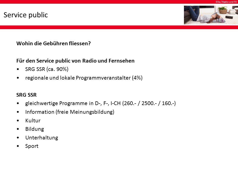 03a / Radio und TV Service public Auftrag der SRG SSR Die SRG SSR stellt die Grundversorgung und Meinungsvielfalt der Schweizer Bevölkerung mit Radio- und Fernsehprogrammen sicher.