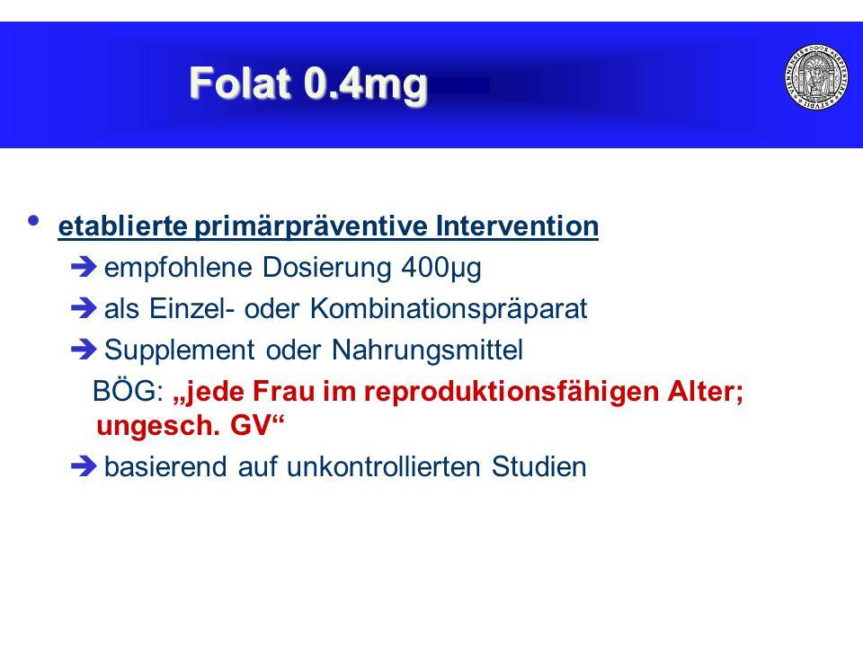 """etablierte primärpräventive Intervention  empfohlene Dosierung 400µg  als Einzel- oder Kombinationspräparat  Supplement oder Nahrungsmittel BÖG: """"j"""