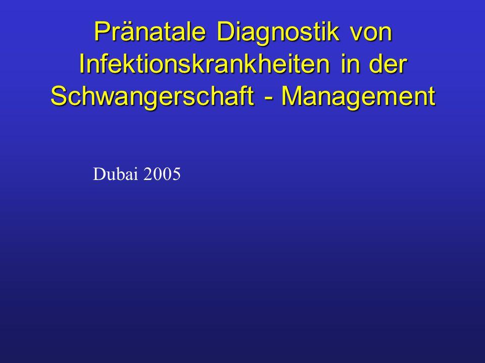 Toxoplasmose Erreger: Toxoplasma gondii Durchseuchung: 48% Infektion: Nachweis durch Serokonversion Akute Infektion (hohe IgG>1:512 IFT oder KBR >1:8) IgM -Antikörper 1.Wo.
