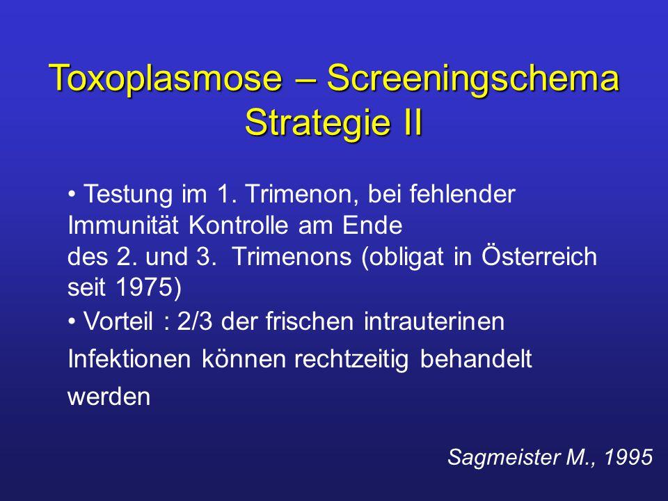 Testung im 1. Trimenon, bei fehlender Immunität Kontrolle am Ende des 2. und 3. Trimenons (obligat in Österreich seit 1975) Vorteil : 2/3 der frischen