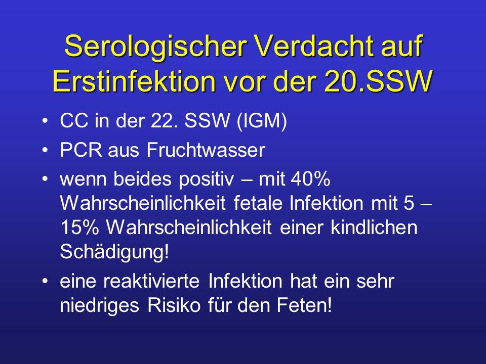 Serologischer Verdacht auf Erstinfektion vor der 20.SSW CC in der 22. SSW (IGM) PCR aus Fruchtwasser wenn beides positiv – mit 40% Wahrscheinlichkeit