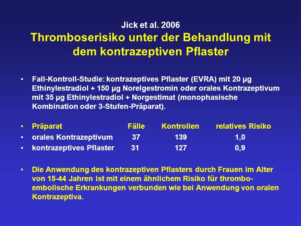 Jick et al. 2006 Thromboserisiko unter der Behandlung mit dem kontrazeptiven Pflaster Fall-Kontroll-Studie: kontrazeptives Pflaster (EVRA) mit 20 µg E