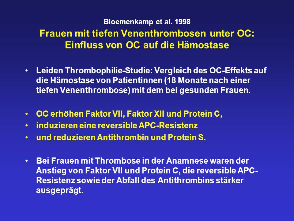 Bloemenkamp et al. 1998 Frauen mit tiefen Venenthrombosen unter OC: Einfluss von OC auf die Hämostase Leiden Thrombophilie-Studie: Vergleich des OC-Ef