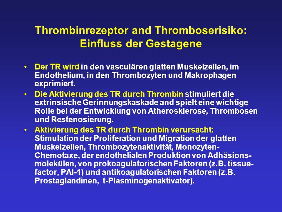 Thrombinrezeptor and Thromboserisiko: Einfluss der Gestagene Der TR wird in den vasculären glatten Muskelzellen, im Endothelium, in den Thrombozyten und Makrophagen exprimiert.