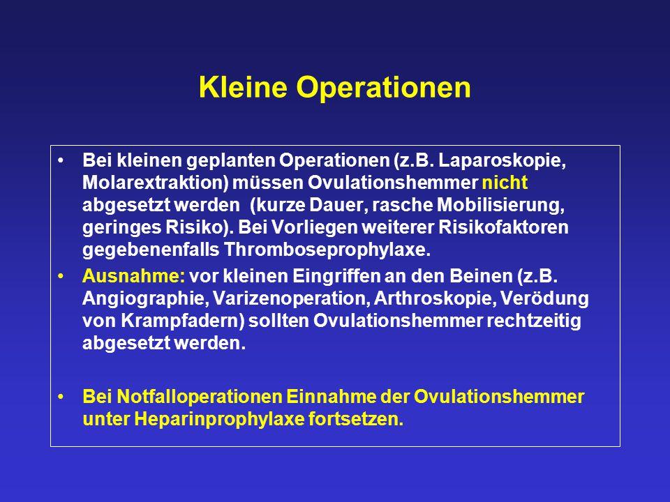 Kleine Operationen Bei kleinen geplanten Operationen (z.B. Laparoskopie, Molarextraktion) müssen Ovulationshemmer nicht abgesetzt werden (kurze Dauer,