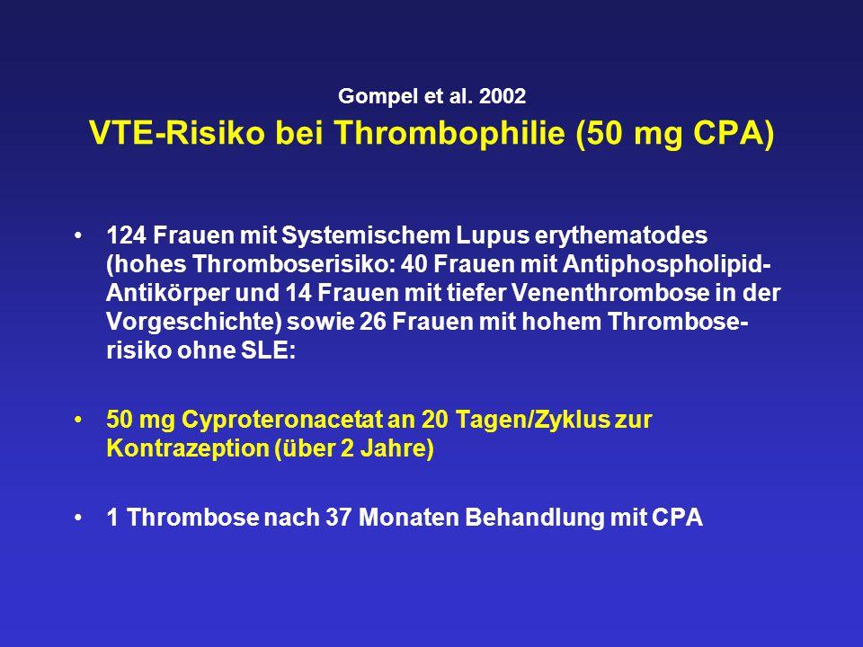 Gompel et al. 2002 VTE-Risiko bei Thrombophilie (50 mg CPA) 124 Frauen mit Systemischem Lupus erythematodes (hohes Thromboserisiko: 40 Frauen mit Anti