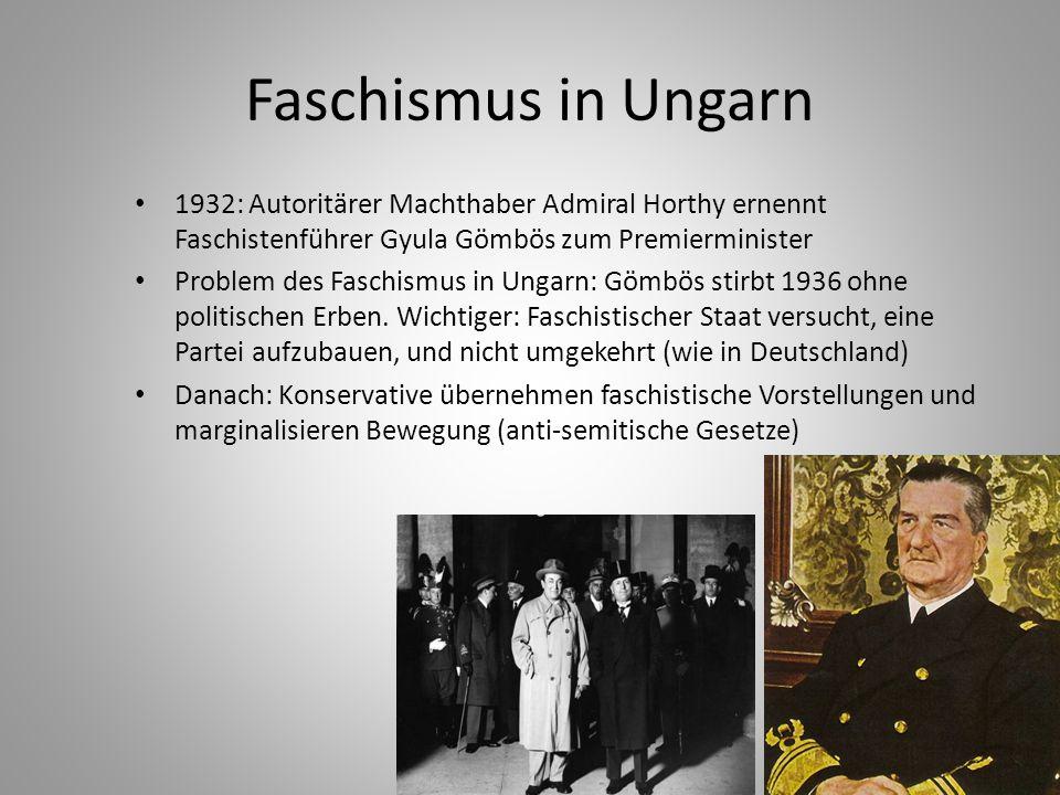 Faschismus in Ungarn 1932: Autoritärer Machthaber Admiral Horthy ernennt Faschistenführer Gyula Gömbös zum Premierminister Problem des Faschismus in U
