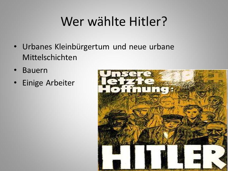 Wer wählte Hitler? Urbanes Kleinbürgertum und neue urbane Mittelschichten Bauern Einige Arbeiter