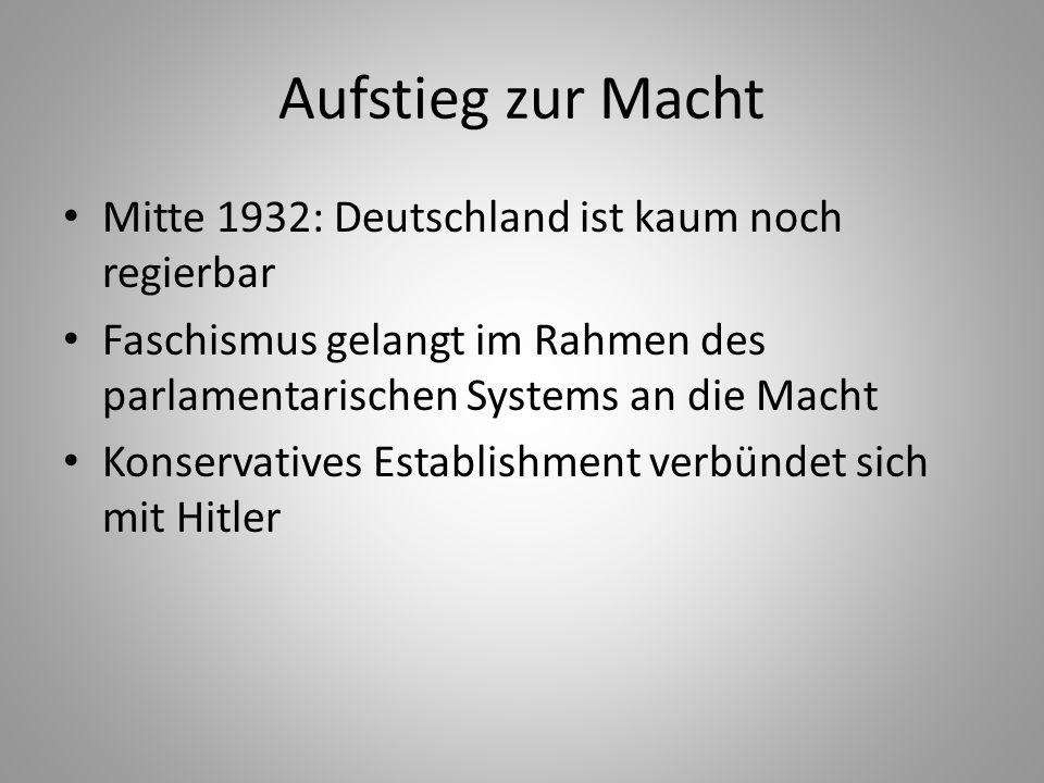 Aufstieg zur Macht Mitte 1932: Deutschland ist kaum noch regierbar Faschismus gelangt im Rahmen des parlamentarischen Systems an die Macht Konservativ