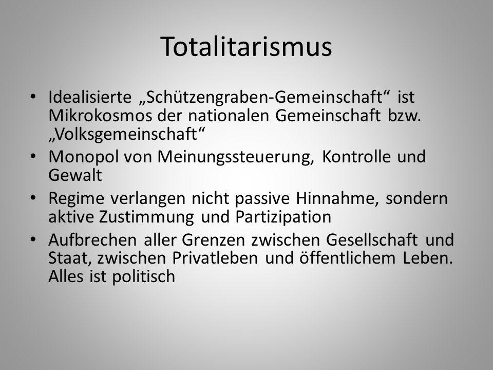 """Totalitarismus Idealisierte """"Schützengraben-Gemeinschaft"""" ist Mikrokosmos der nationalen Gemeinschaft bzw. """"Volksgemeinschaft"""" Monopol von Meinungsste"""