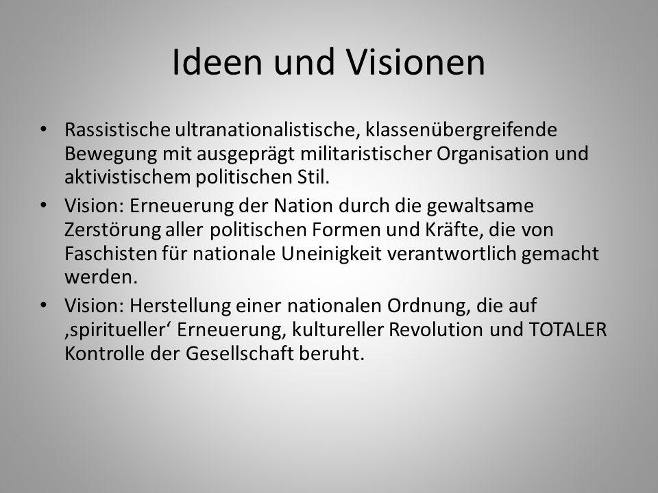 Ideen und Visionen Rassistische ultranationalistische, klassenübergreifende Bewegung mit ausgeprägt militaristischer Organisation und aktivistischem p